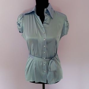 Bebe Silk Button down shirt rhinestone buttons M